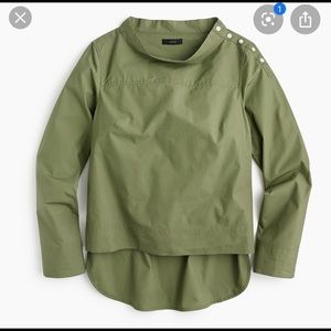 J. Crew funnel neck button shoulder shirt 8 olive